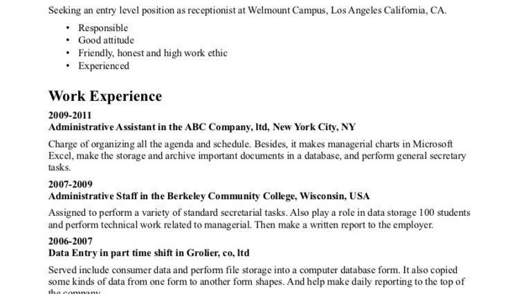 Entry Level Receptionist Resume Example objective work experience ...