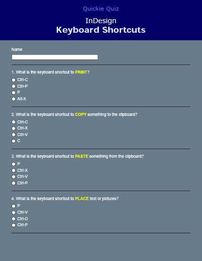 Forms Central Template - InDesign Keyboard Shortcuts Quiz | Adobe ...