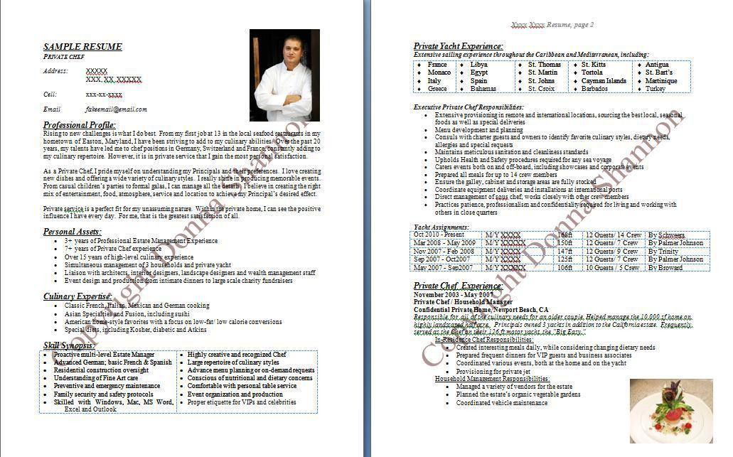 Chef Resume Template 10 Chef Sample - uxhandy.com