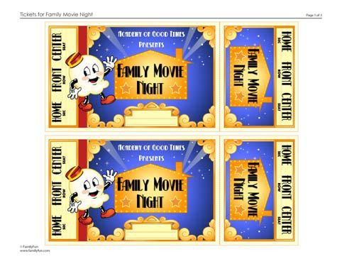 Family Movie Night: Tickets (Printable Activity for Kids ...