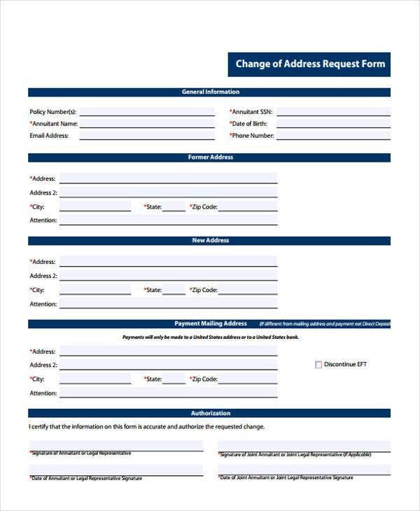 Printable Change Form