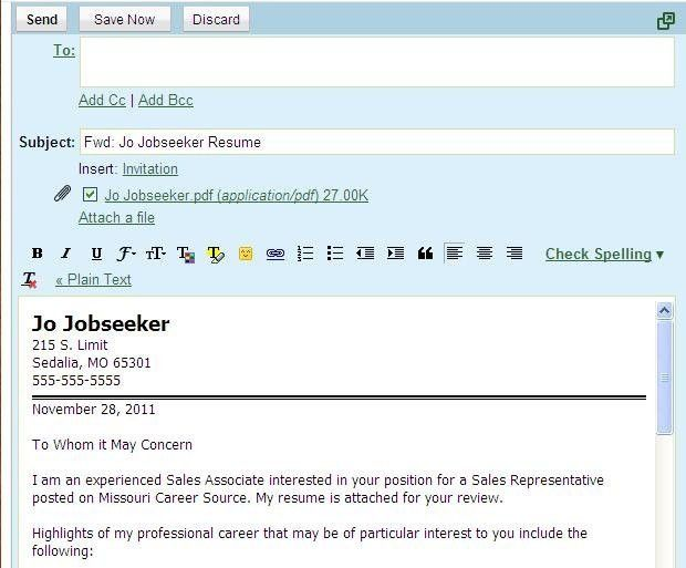 Attached To This Email Is My Resume And Cover Letter ...