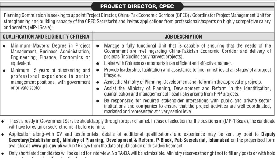 Project Director CPEC Job Available at Planning Commission - Pak ...