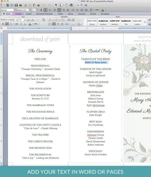 Watercolor Flowers Tri-Fold Program Template – Download & Print