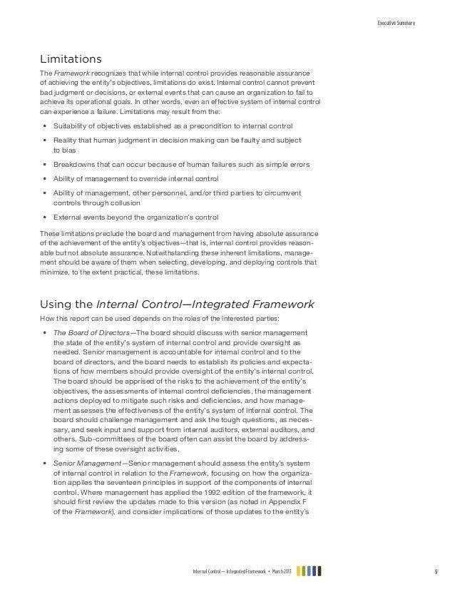 Coso internal control integrated framework executive summary