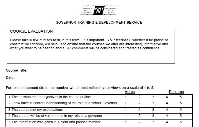 Performance Magazine Training evaluation form - Torfaen County ...
