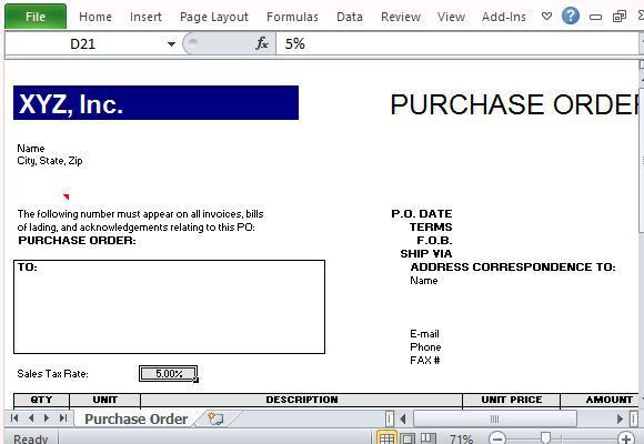 Purchase Order Template for Excel