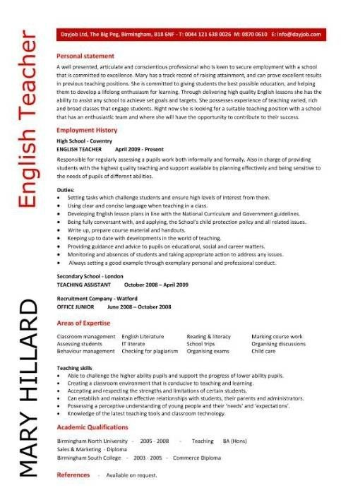 English Teacher Resume Template Cv Examples Teaching Academic ...