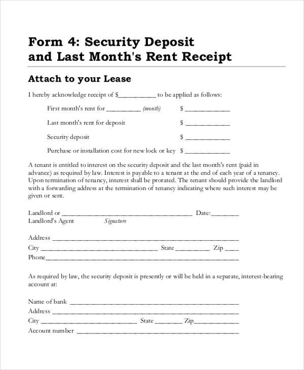 Sample Security Deposit Receipt Form   8+ Free Documents In Word, PDF  Proof Of Receipt Form