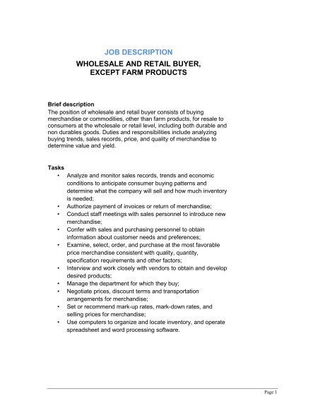 Wholesale and Retail Buyer (Except Farm Products) Job Description ...