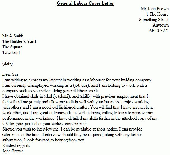cover letter comely general labor job resume example college ...