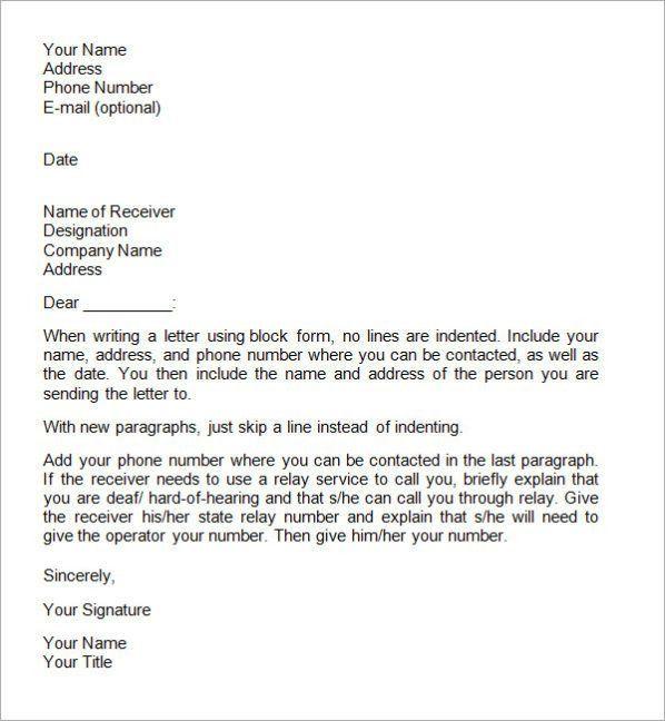 Formal Letter Format Sample Template | Calendar Template Letter ...