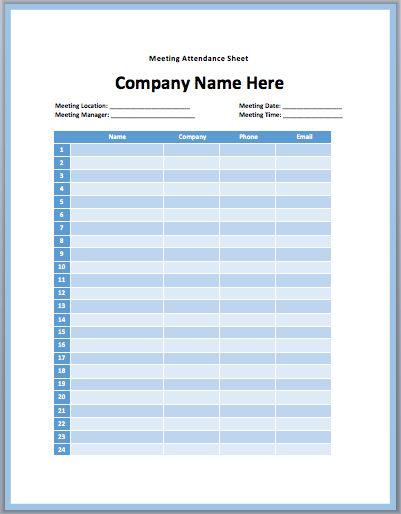 Meeting Attendance Sheet Template | Printable Templates