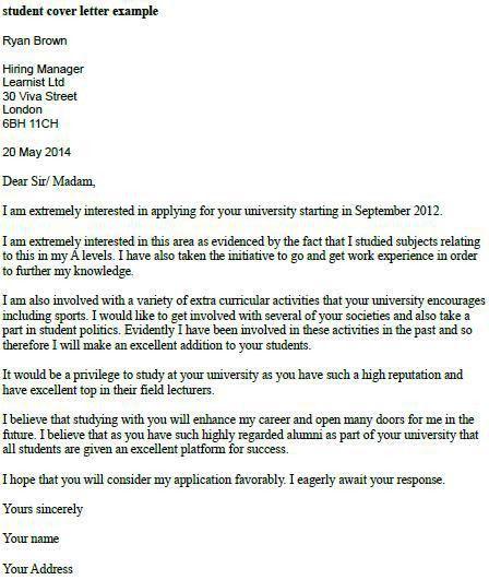 Student Cover Letter Sample Resume Cover Letter inside Cover ...