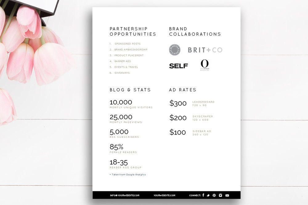 Blogger Media Kit Template | 3 Pages — By Stephanie Design