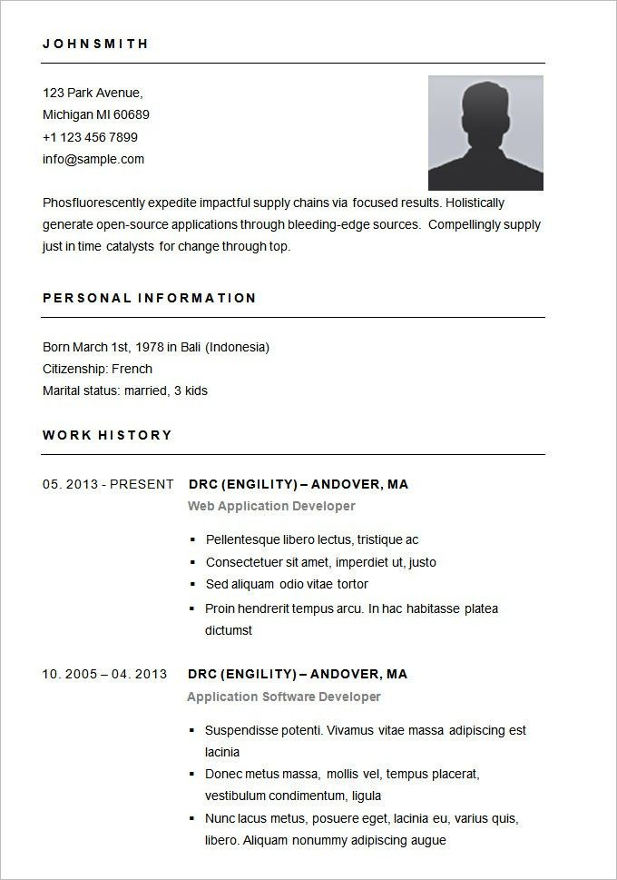 resume sample template easy simple download free templates fsf ...