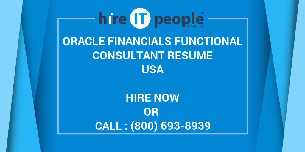 Oracle Financials Functional Consultant Resume - Hire IT People ...