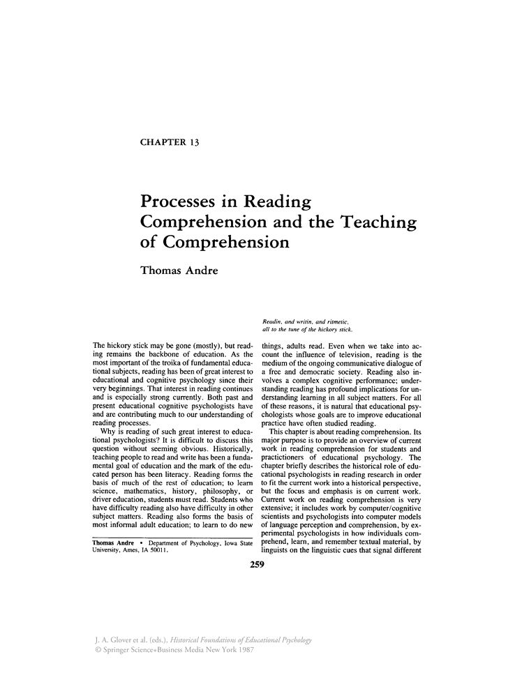 Processes in Reading Comprehension and the Teaching of ...