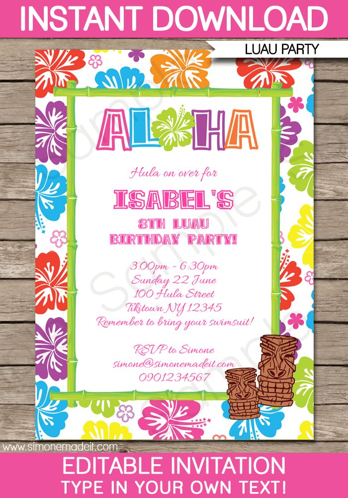 Luau Birthday Party Invitations | badbrya.com