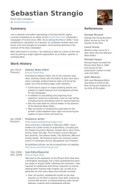 News Editor CV Örneği - VisualCV Özgeçmiş Örnekleri Veritabanı
