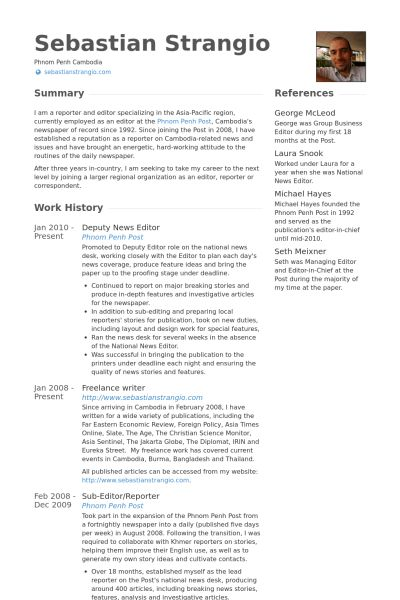 News Editor Resume samples - VisualCV resume samples database