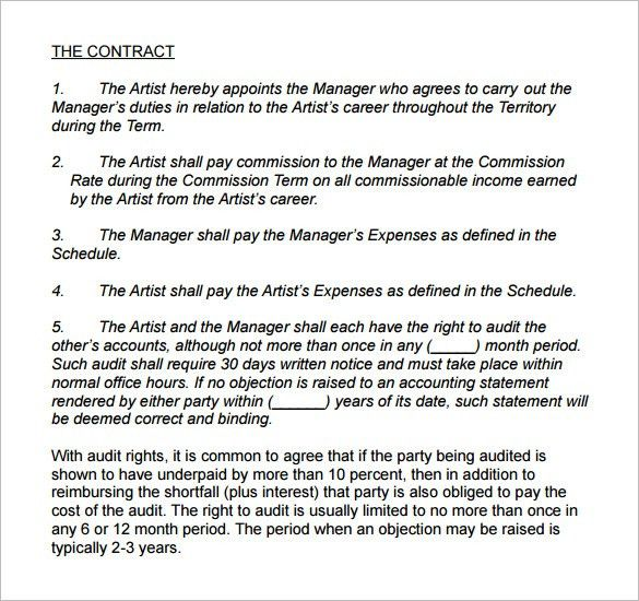 4+ Artist Management Contract Templates – Free PDF, Word Documents ...
