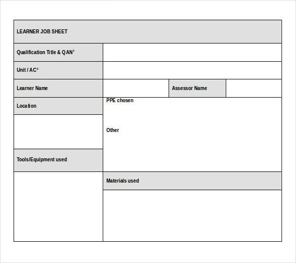 Doc.#557416: Job Sheet Format Excel – Example Job Sheet (+90 ...