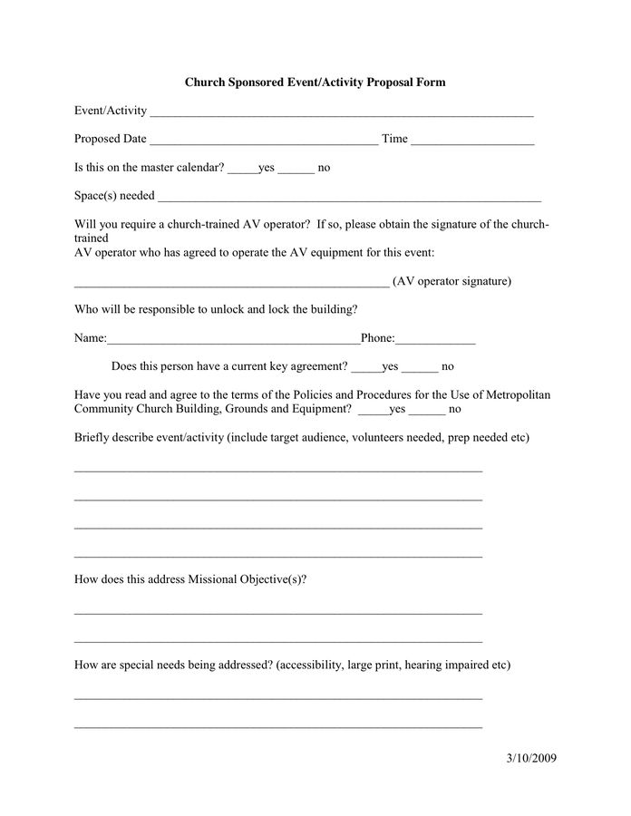 Event/Activity Proposal Form in Word and Pdf formats