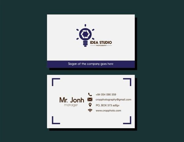 Studio name card lightbulb design on white background Free vector ...