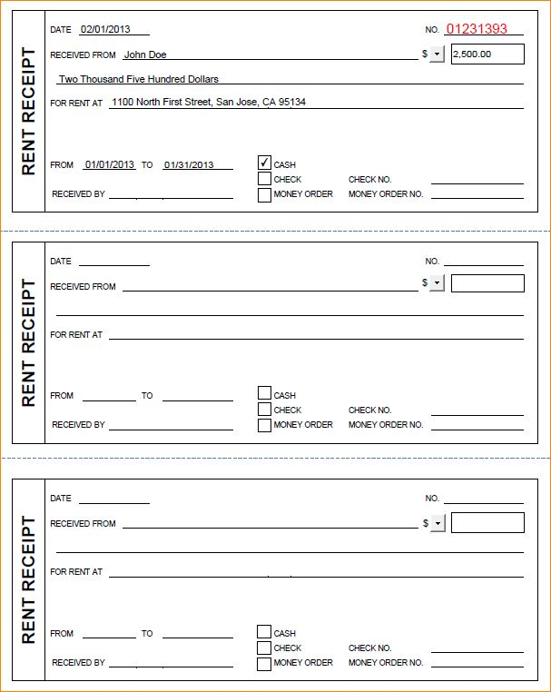 7+ rent receipt format | Outline Templates