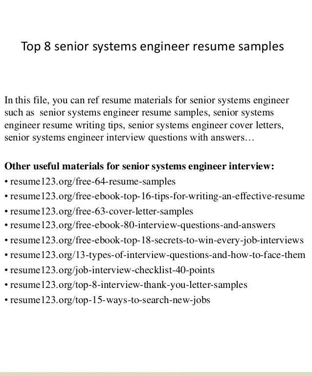 Systems Engineer Resume - Resume Example