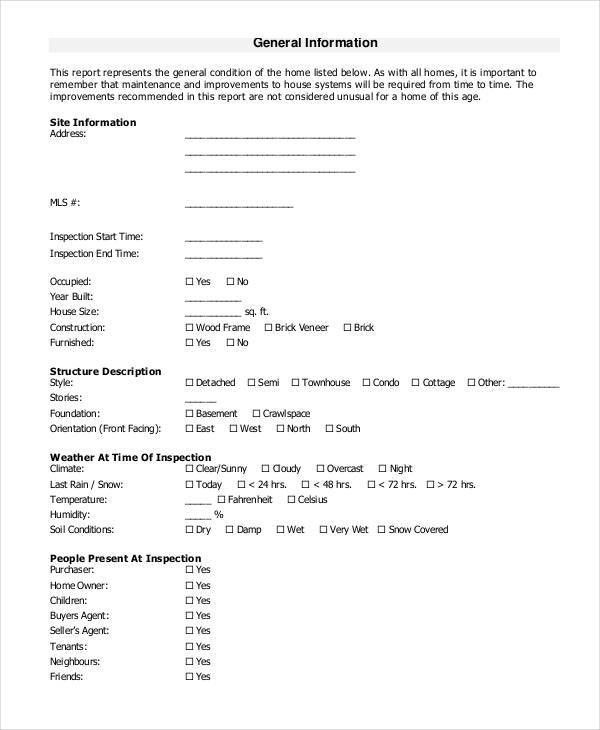 Home Inspection Checklist Template - 9+ Free PDF Documents ...