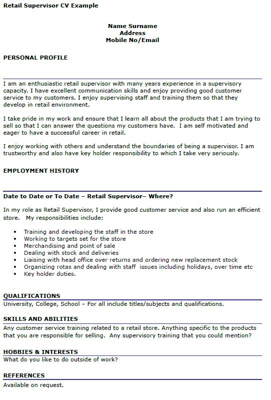 Retail Supervisor CV Example - icover.org.uk