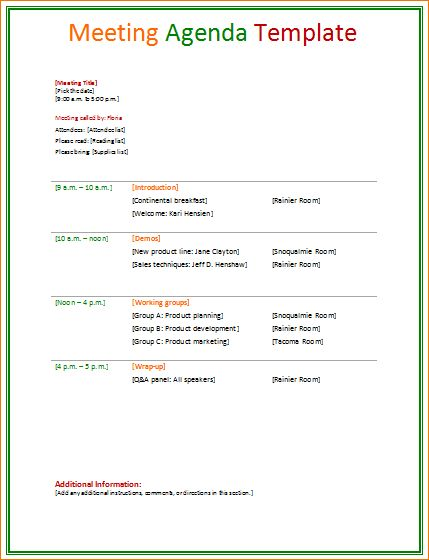 11 Meeting Agenda TemplatesAgenda Template Sample | Agenda ...