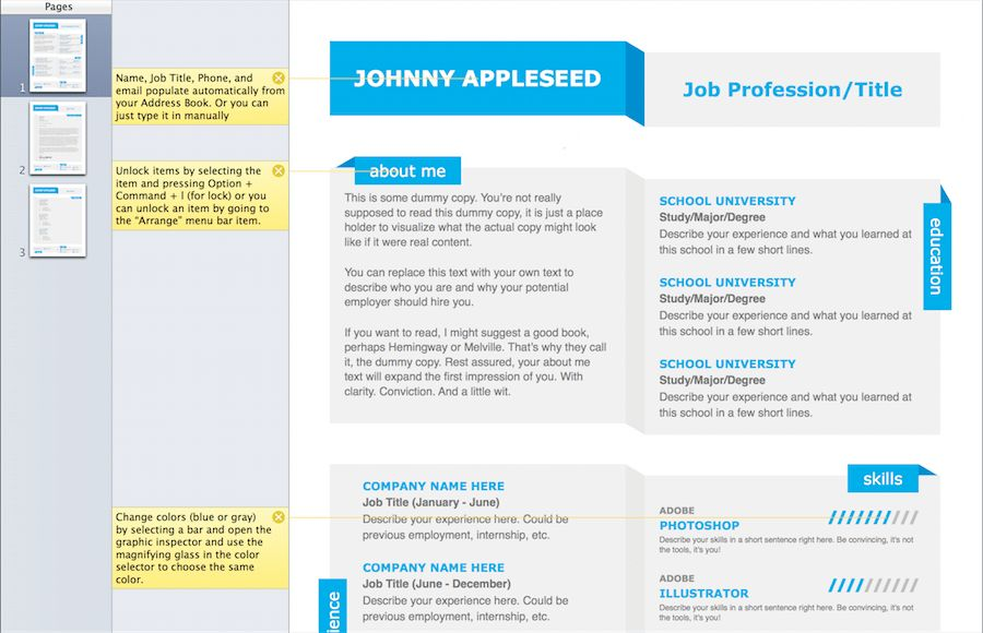 Modern Fold Resume Template for Pages