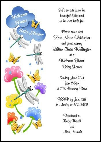 Creative Invitation Wording for 99¢ Welcome Home Baby Shower