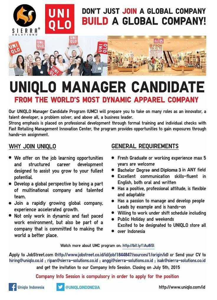 OPEN! #vacancy as UNIQLO Production Manager Candidate for All ...