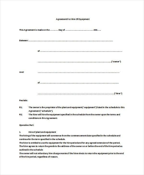 12+ Equipment Rental Agreement Templates – Free Sample, Example ...