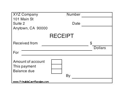 Four cash receipts per page, with boxes in which to indicate ...