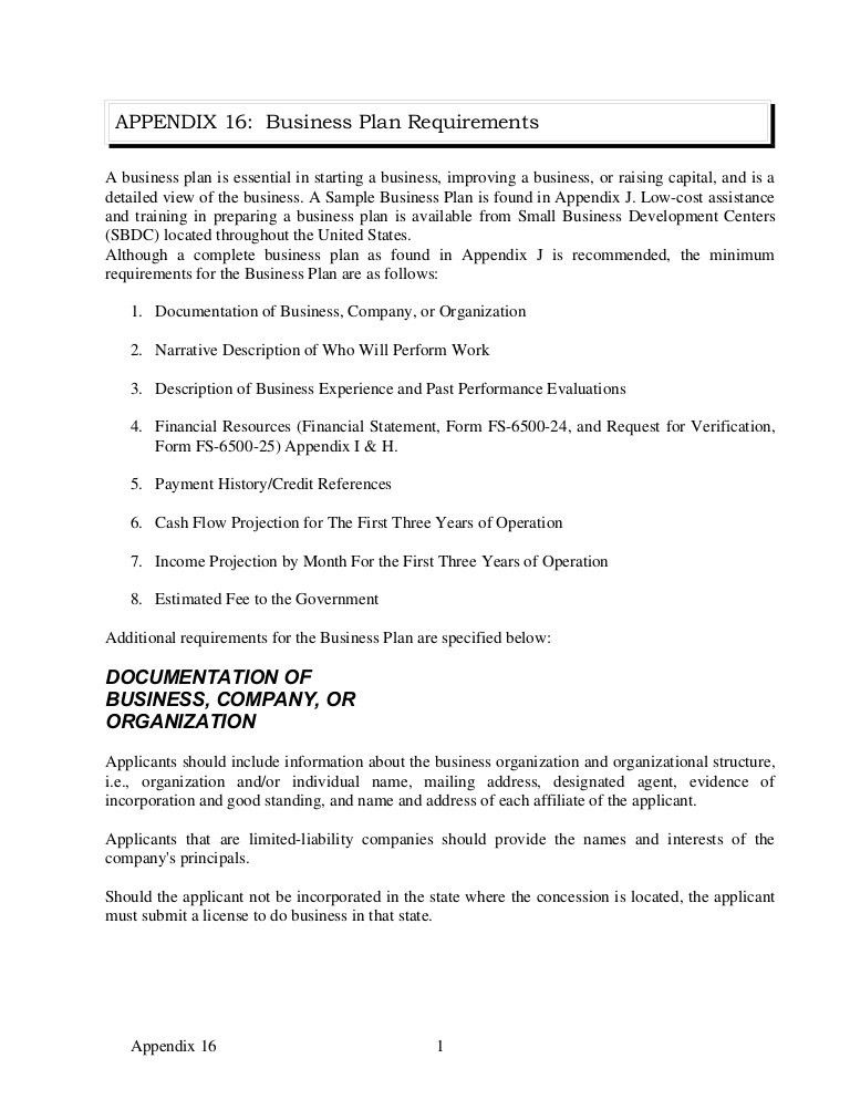 Appendix 16 sample business plan