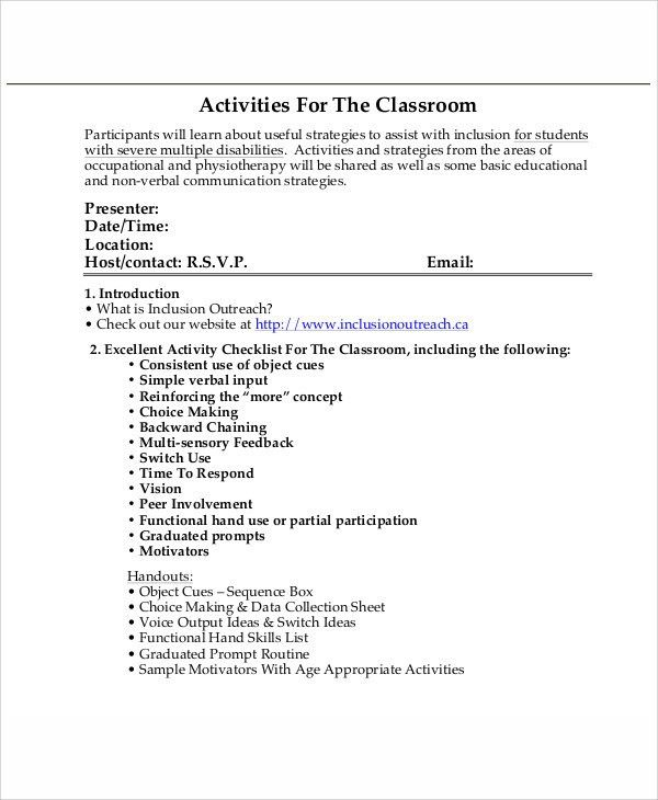 Classroom Agenda Examples - 9+ Free Word, PDF Format Download ...