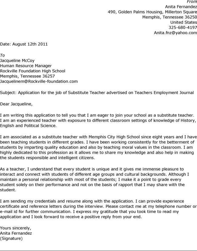 Cover Letter Samples For School Jobs Example Regarding Sample ...