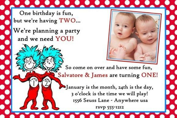 dr seuss twins birthday invitation sample | Invitations Online