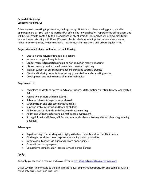 Life Actuarial Analyst Job Description - Hartford