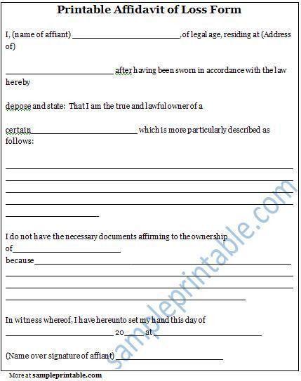 Affidavit of Loss Form, Printable Affidavit of Loss Form ...