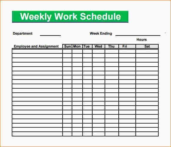 5 blank work schedule template | Ganttchart Template