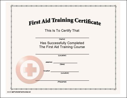 First aid certificate template first aid training certificate this certificate with a red cross seal certifies the completion yadclub Choice Image