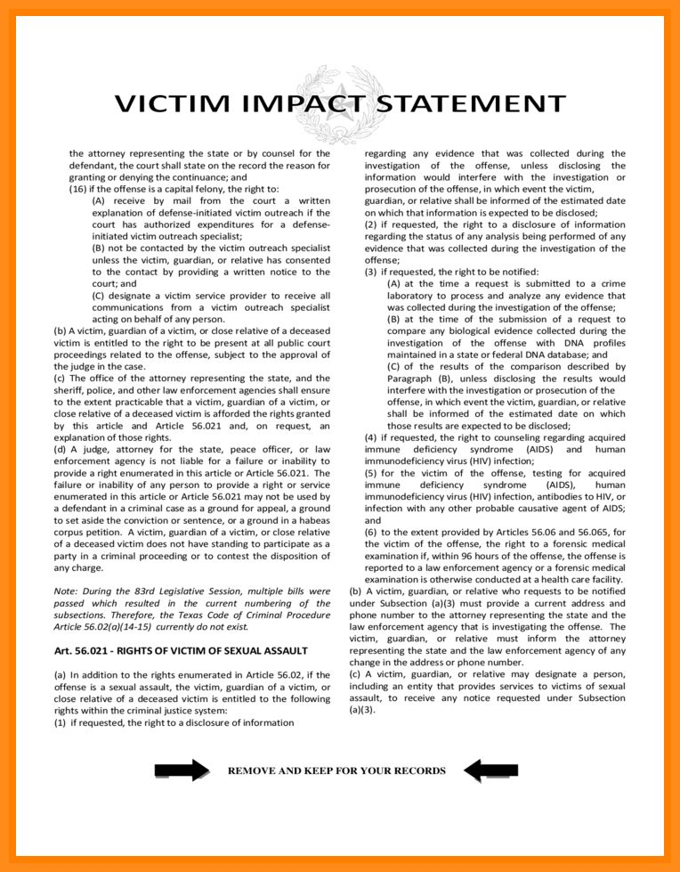 8+ victim personal statement examples | parts of resume