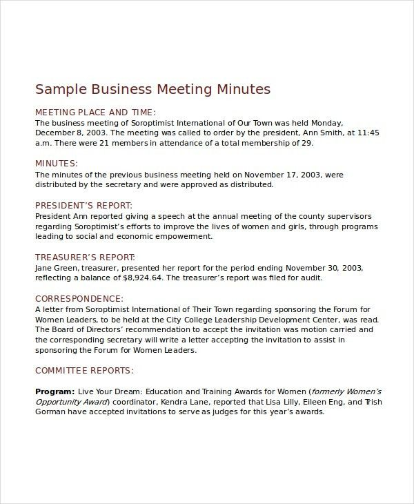 Meeting Minutes Template - 10+ Free Word, PDF Document Downloads ...