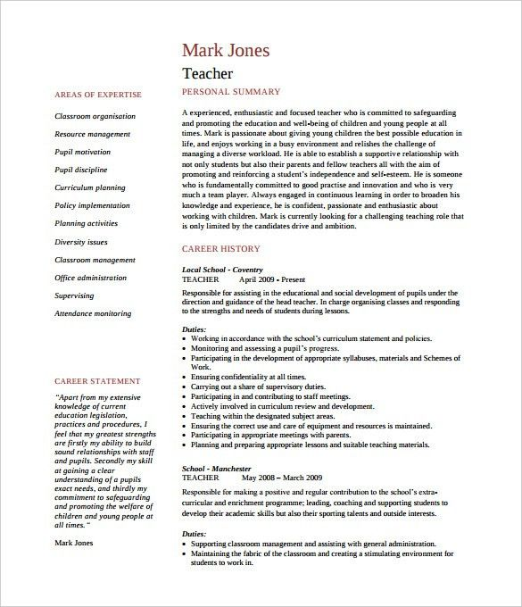 Free Resume Templates For Teachers - Resume CV Cover Letter